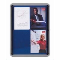 Nobo Glazed Lockable Display Case Blue Felt 6 x A4