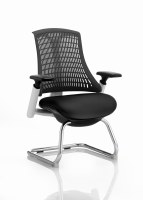 Flex Visitor Cantilever Chair White Frame Black Back with Arms