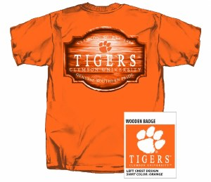 Clemson Tigers Wooden Badge T-Shirt SMALL