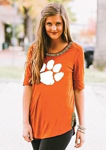 Clemson Tigers Ladies Half Sleeve Tee MD