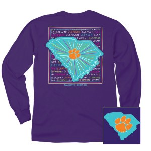 Clemson Tigers State Pattern Long Sleeve Tee SMALL