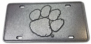 Clemson Tigers Raised Paw Pewter Plate