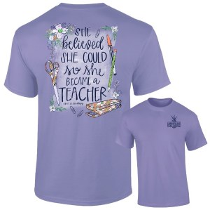 Southernology She Became A Teacher T-Shirt SMALL