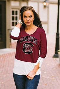 South Carolina Gamecocks Ladies Colorblock Blouse SM