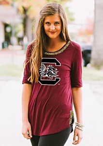 South Carolina Gamecocks Ladies Half Sleeve Tee MD
