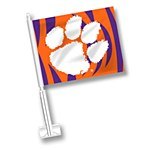 Clemson Tigers Paw with Stripes Car Flag