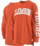Clemson Tigers Appliqued Long Sleeve Crew Neck LARGE