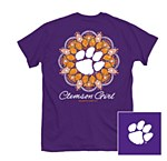Clemson Tigers Paw Flower T-Shirt SMALL