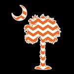 Palmetto Orange Chevron Decal