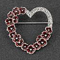 Poppy Diamante Heart Brooch