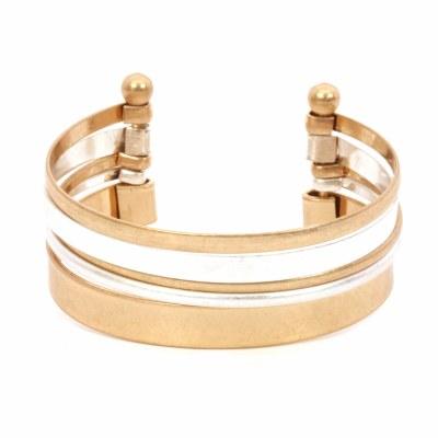 Gold & Silver Layered Cuff Bracelet
