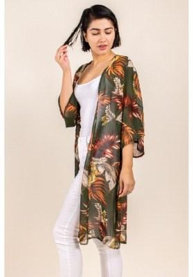 Leaf Print Kimono M Olive