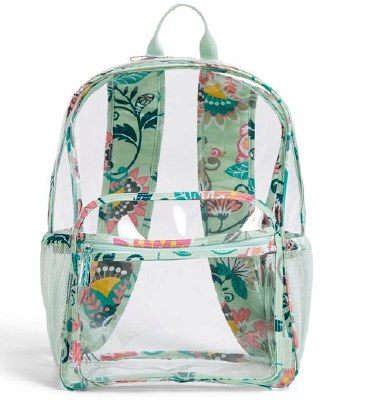 Clearly Colorful Large Backpack Mint Flowers