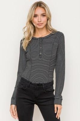 Pin Stripe LS Bodysuit Medium