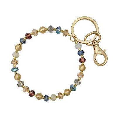 Multi Crystal Gold Key Ring
