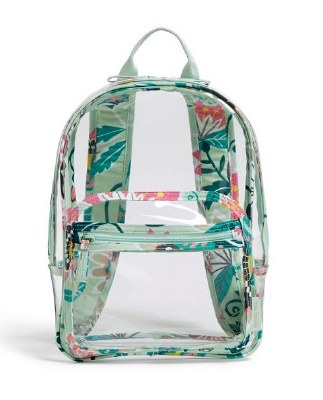 Clearly Colorful Stadium Backpack Mint Flowers