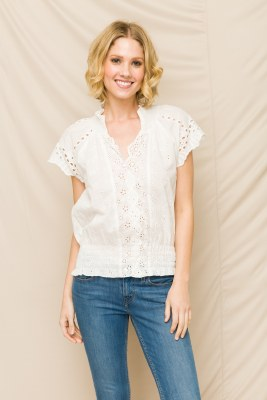 Eyelet Lace Smocked Top Small