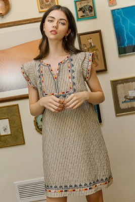 Striped Embroidered Shift Dress