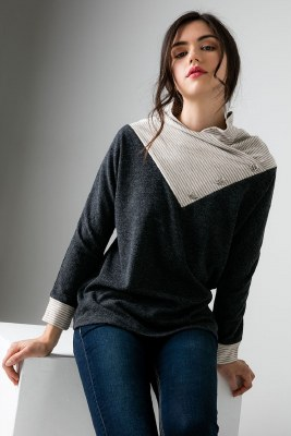Cowl Knit Top Extra Small