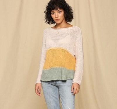 Color Block Boatneck Sweater L