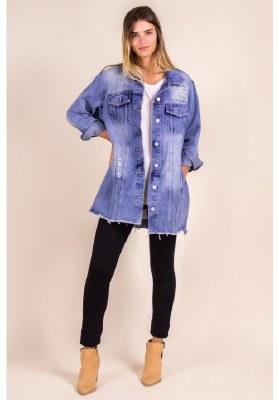 Oversized Denim Jacket Raw Hem Medium