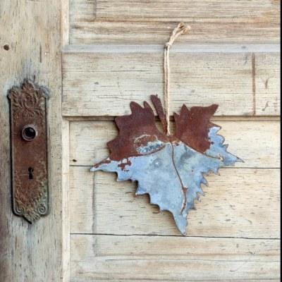 Aged Tin Hanging Maple Leaf