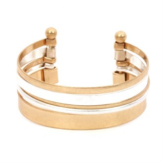 Gold & Silver Layered Cuff Bracelet