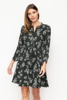 Metallic Trim Shirt Dress