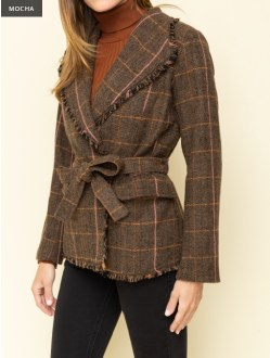Raw Edged Belted Plaid Jacket