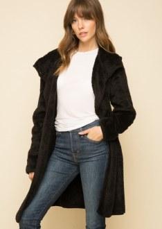 Black Fur Hooded Coat