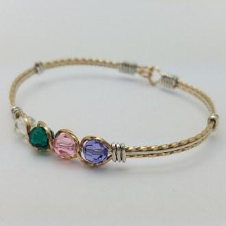 2-Tone Birthstone Bracelet 1 Stone