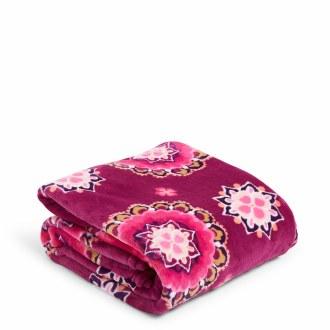 Plush Throw Blanket Raspberry Medallion