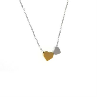 Double Heart 2-Tone Necklace
