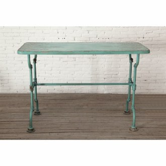 Distressed Blue Metal Table