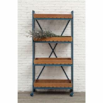 Blue Metal & Wood Shelf