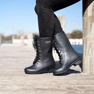 Epaga Matte Black Lace Up Boots