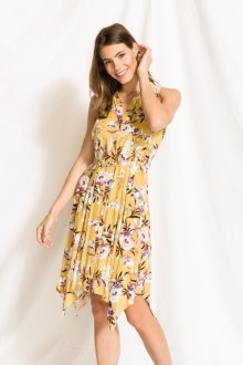 Floral Print Hanky Hem Dress Small