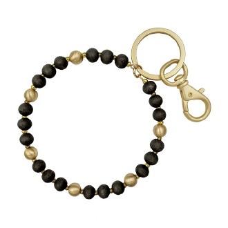 Black Wood Beaded Key Ring