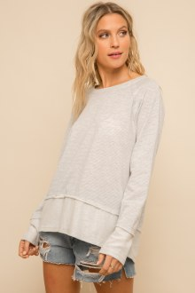 Round Neck Contrast Top Small