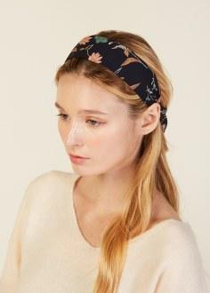 Navy Ponytail Scarf Headband