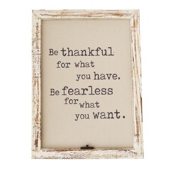 Be Thankful Window Pane Plaque