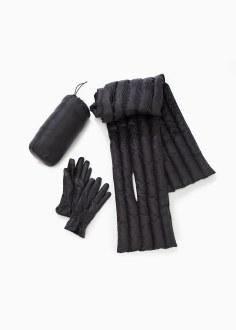 Puffer Scarf & Glove Set: Black