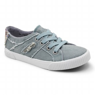 Dusty Blue Canvas Sneaker 7.5