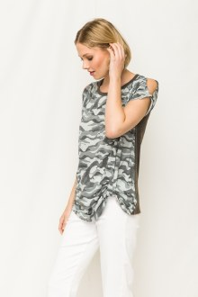 Camo Acid Wash Knot Top Small