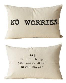No Worries Cotton Pillow Rev.