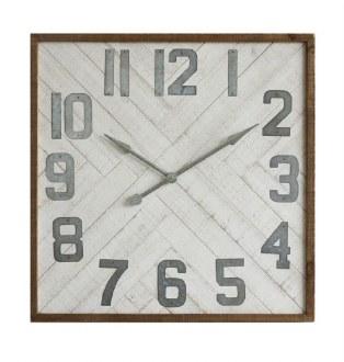 Square Wood & Metal Wall Clock