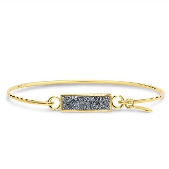 Platinum Druzy Gold Bar Bracelet