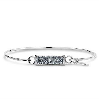 Platinum Druzy Silver Bar Bracelet