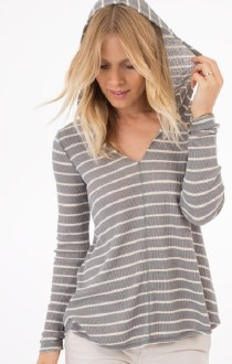 Everest Hooded Striped L/S Top