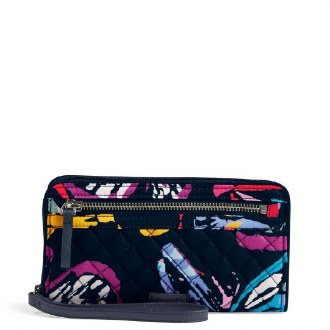 Iconic RFID Front Zip Wristlet Butterfly Flutter